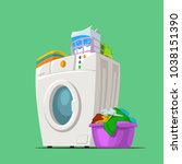 wash machine on green | Shutterstock .eps vector #1038151390