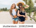 stylish pretty women on summer... | Shutterstock . vector #1038153448