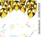 yellow metallic baloons on the... | Shutterstock . vector #1038155329