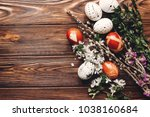 stylish easter eggs with white... | Shutterstock . vector #1038160684
