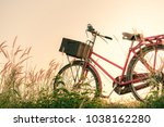 retro bicycle in summer grass... | Shutterstock . vector #1038162280