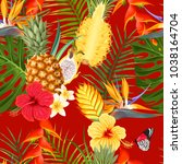 tropical flowers and fruit... | Shutterstock .eps vector #1038164704