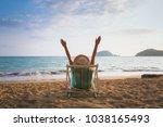 summer beach vacation concept ... | Shutterstock . vector #1038165493