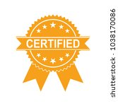 certified medal icon. approved... | Shutterstock .eps vector #1038170086