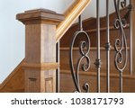 hardwood newel post staircase... | Shutterstock . vector #1038171793