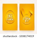 easter greeting banners. easter ... | Shutterstock .eps vector #1038174019
