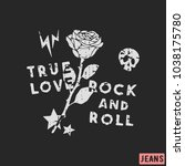 true love   rock and roll t... | Shutterstock .eps vector #1038175780