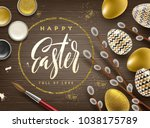 easter greeting illustration.... | Shutterstock .eps vector #1038175789