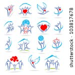 happy family set of icons and   Shutterstock .eps vector #103817678