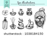 vector set with doodle spa... | Shutterstock .eps vector #1038184150