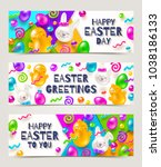 easter greeting banners.... | Shutterstock .eps vector #1038186133