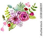watercolor bouquet of flowers... | Shutterstock . vector #1038188059