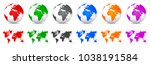 set 3d vector globes with world ... | Shutterstock .eps vector #1038191584