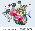 beautiful floral exotic vector... | Shutterstock .eps vector #1038193474