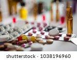 heap of colorful pills medical...   Shutterstock . vector #1038196960