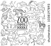 Stock vector zoo animals traditional doodle icons sketch hand made design vector 1038197893