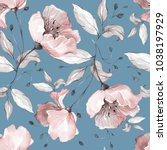 Stock photo seamless pattern with spring flowers and leaves hand drawn background floral pattern for 1038197929