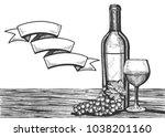 vector illustration of a wine...   Shutterstock .eps vector #1038201160