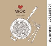 wok  chinese noodles  wok with... | Shutterstock .eps vector #1038205504