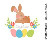 easter bunnies with eggs ... | Shutterstock .eps vector #1038214066