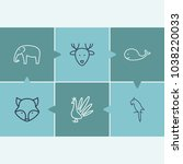 animal icon set and fox with...
