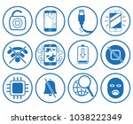set blue circle flat line... | Shutterstock .eps vector #1038222349
