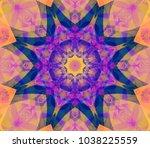 abstract kaleidoscope azure... | Shutterstock . vector #1038225559
