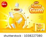 citrus gum ads. orange falling... | Shutterstock .eps vector #1038227380