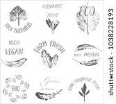 hand drawn labels and elements... | Shutterstock .eps vector #1038228193