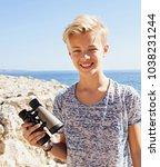 portrait of tourist teenager... | Shutterstock . vector #1038231244