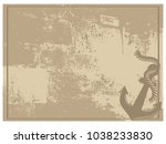 silhouette of anchor on vintage ... | Shutterstock .eps vector #1038233830