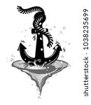 black anchor in wave isolated... | Shutterstock .eps vector #1038235699