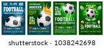 set of football posters with... | Shutterstock .eps vector #1038242698