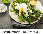 green peas and asparagus with... | Shutterstock . vector #1038244033
