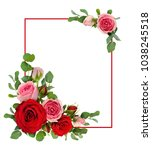 red and pink rose flowers with... | Shutterstock . vector #1038245518