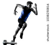 one caucasian runner sprinter... | Shutterstock . vector #1038250816
