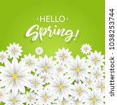 hello spring.hand lettering... | Shutterstock .eps vector #1038253744
