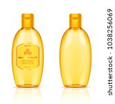 plastic golden transparent... | Shutterstock .eps vector #1038256069