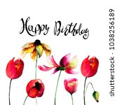 gerber and tulips flowers with... | Shutterstock . vector #1038256189