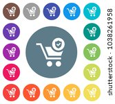 secure shopping flat white... | Shutterstock .eps vector #1038261958