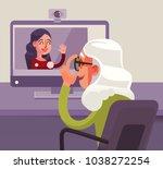 happy smiling grandmother...   Shutterstock .eps vector #1038272254
