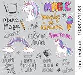 unicorn slogan set isolated on... | Shutterstock .eps vector #1038274183