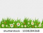 grass and flowers border ... | Shutterstock .eps vector #1038284368