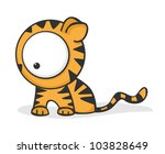 cute and funny cartoon tiger... | Shutterstock . vector #103828649