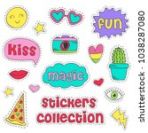set of isolated funny stickers  ... | Shutterstock .eps vector #1038287080