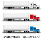 realistic trucks set. side view. | Shutterstock .eps vector #1038291370
