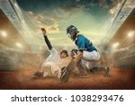 baseball players in dynamic... | Shutterstock . vector #1038293476