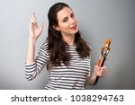 young artist woman with her... | Shutterstock . vector #1038294763