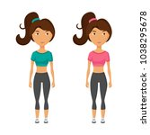 young pretty woman with brown... | Shutterstock .eps vector #1038295678