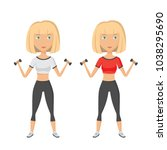 young blonde pretty woman doing ... | Shutterstock .eps vector #1038295690